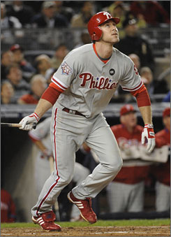 Chase Utley has reached base a major-league record 26 consecutive postseason games.