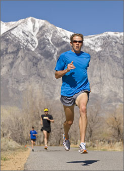 Ryan Hall, shown training near Mammoth Lakes, Calif. before the 2008 Olympic marathon, holds the American record but will be running his first New York City Marathon on Sunday.
