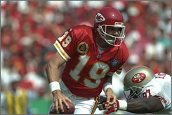 Joe Montana played the final two seasons of his Hall of Fame career in Kansas City after a falling out with the 49ers, with whom he won four Super Bowls.