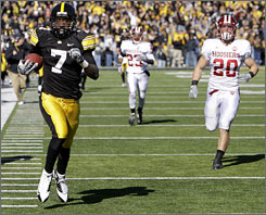 Iowa's Marvin McNutt strolls into the end zone for 92-yard touchdown reception in the fourth quarter against Indiana.
