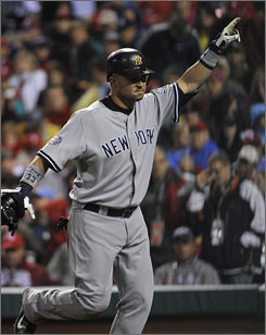 Yankees outfielder Nick Swisher broke out of his postseason slump with a double and a home run in Game 3 of the World Series.