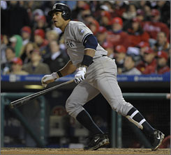 Alex Rodriguez's RBI double in the ninth inning gave the Yankees a 5-4 lead. The Yanks tacked on two more to win 7-4.