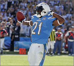 Chargers RB LaDainian Tomlinson scored his second and third TDs of the season on Sunday.