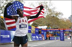 American Meb Keflezighi celebrates his win at the New York City Marathon on Sunday.