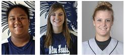 Dickinson State softball players, from left, Kyrstin Gemar, 22;, Ashley Neufeld, 21; and Afton Williamson, 20, were found dead Tuesday in a Jeep pulled from a pond near Dickinson, N.D.