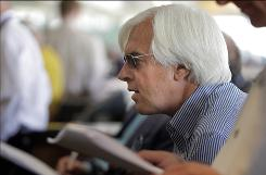 Trainer Bob Baffert listens during the Breeders' Cup draw at Santa Anita Park in Arcadia, Calif., Tuesday. Baffert's horses received less than fortunate post positions in the draw.