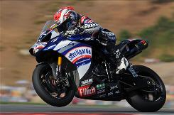 Ben Spies powers his Yamaha YZF R1 to win the first race of the last round of the Superbike World Championship at Algarve Motor Park near Portimao, Portugal