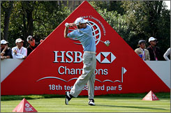 Nick Watney leads the HSBC Champions event in Shanghai after an opening-round 64. Tiger Woods checked in three strokes behind.