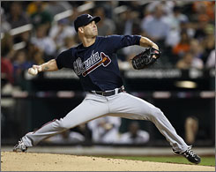 Braves starter Tim Hudson went 2-1 with a 3.61 ERA in seven starts in 2009 after his retrun from elbow surgery.