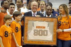 Syracuse coach Jim Boeheim picked up his 800th victory Monday when the Orange defeated visiting Albany 75-43.