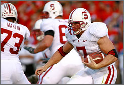 "Stanford's Toby Gerhart is the football team's star running back and the starting left fielder for the Cardinal's baseball team. ""It's all about competing. That's what separates these guys from other athletes,"" said Stanford baseball coach Mark Marquess."