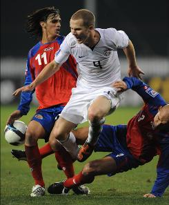 Michael Bradley, center, and the U.S. men's national team will face Slovakia on Saturday and Denmark on Wednesday.