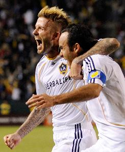 David Beckham, left, and Landon Donovan of the Los Angeles Galaxy celebrate after Donovan's goal on a penalty kick against Houston Dynamo during the MLS Western Conference Championship soccer match at The Home Depot Center on Nov. 13 in Carson, Calif. The Galaxy will meet Real Salt Lake in Seattle this Saturday.