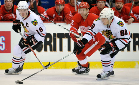 Jonathan Toews, left, was the Blackhawks' leading goal scorer last season and Patrick Kane was in the top two in points on the team his first two seasons. Both should command more than $6 million a year.