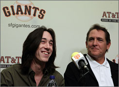 A happy Giants righthander Tim Lincecum talks about his second straight National League Cy Young Award while his pitching coach, Dave Righetti, joins him at AT&amp;T Park. 