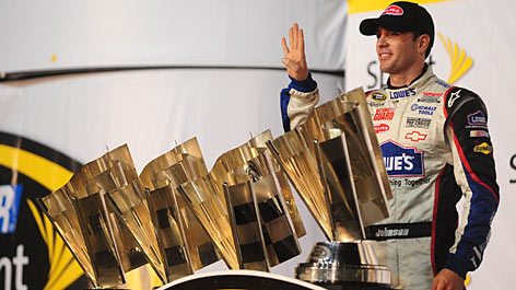 Jimmie Johnson's 36-race drive to the NASCAR Sprint Cup championship ends with four titles and the trophies to match, all in a row.