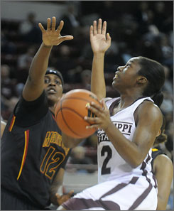Mississippi State's Alexis Rack, driving to the basket past Maryland's Lynette Kizer, scored a career-high 43 points, falling just five points shy of the school record of 48, set by LaToya Thomas in 2000.