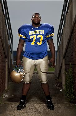 George Washington High School football player Sharrif Floyd is one of the most highly recruited players in the nation. Floyd plays defensive tackle and offensive line for George Washington High, but will play DT in college.