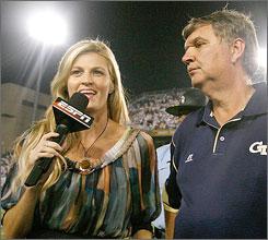 ESPN's Erin Anderws interviews Georgia Tech coach Paul Johnson in September.