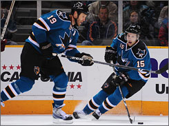 Joe Thornton, left, and Dany Heatley each received enough MVP votes to land in the top five for the first-place Sharks.
