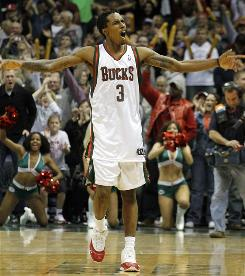 Milwaukee Bucks rookie Brandon Jennings reacts at the end of the game against Golden State on Nov. 14. Jennings scored 55 points in the Bucks' 129-125 victory over the Warriors.