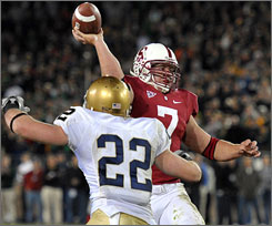 Stanford running back Toby Gerhart threw a fourth-quarter touchdown pass and also ran for three more in the Cardinal's 45-38 win over Notre Dame.