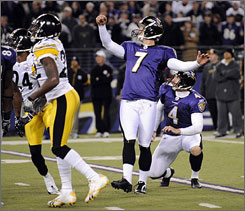 The Ravens improved to 6-5 with an overtime win against the Steelers on Sunday.