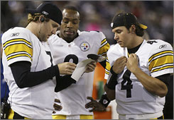 The Steelers were without starting QB Ben Roethlisberger, left, in a loss to the Ravens on Sunday.