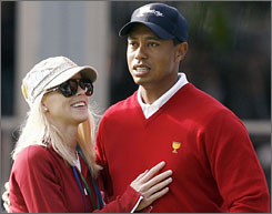Tiger Woods and his wife Elin Nordegren at the Presidents Cup in San Francisco in early October.