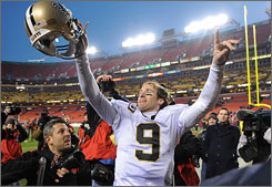 Drew Brees and the Saints improved to 12-0 after a comeback win against the Redskins on Sunday.