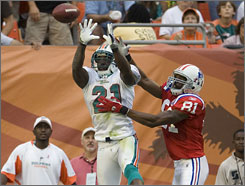 Vontae Davis had a key interception of Tom Brady in last Sunday's Dolphins' win.