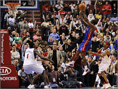 Pistons guard Rodney Stuckey connects on the game-winning basket with 8.7 remaining. Stuckey scored 27 points to lead Detroit over the Philadelphia 76ers.
