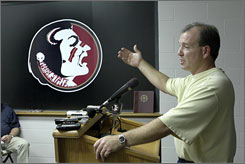 Florida State offensive coordinator Jimbo Fisher speaks at a news conference on Monday. Fisher will take over for Bobby Bowden as head coach of the Seminoles following the Gator Bowl game.
