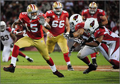 49ers rookie Michael Crabtree had five receptions for 67 yards and a touchdown in an upset of the Cardinals on Monday.