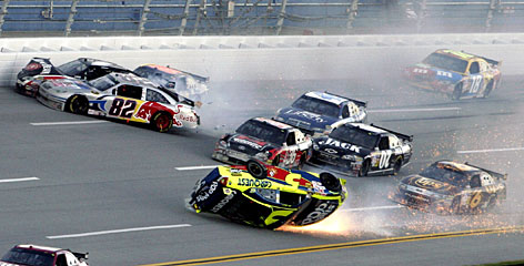 The Chevy of Mark Martin (5) takes a tumble in the midst of a massive melee during the final lap of the Amp Energy 500 at Talladega Superspeedway in November.