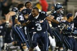 Villanova's Brandyn Harvey celebrates after his team defeated Montana for the 2009 Division 1 FCS National Championship on Friday. Villanova won 23 21 at Finley Stadium in Chattanooga, Tennessee.