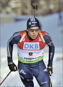 Tim Burke became the first American to take the lead at the biathlon World Cup with a sixth-place finish in the 12.5-kilometer pursuit on Sunday.