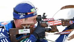 Tim Burke competes during the men's 20K individual at the World Cup biathlon competition Thursday in Pokljuka, Slovenia.