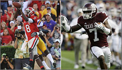 Monday's Independence Bowl will feature a display of dynamic wide receivers in Georgia's A.J. Green, left, and Texas A&M's Uzoma Nwachukwu.