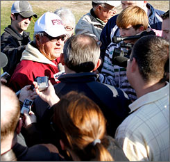 Bobby Bowden meets the media during his final practice as Florida State coach.