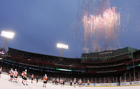 Fireworks go off at Boston's Fenway Park after the Bruins 2-1 victory.