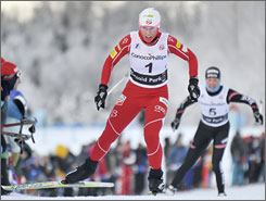 Kikkan Randall, skiing on her hometown course, beat eight-time national champion Rebecca Dussault, among others, to win the gold medal in the women's freestyle sprint at the U.S. cross country championships.
