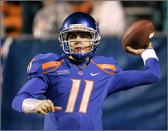 Boise State quarterback Kellen Moore, the Bowl Subdivision's top-rated passer, had 3,325 passing yards, 39 touchdown passes and three interceptions.