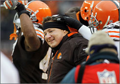 Browns coach Eric Mangini led his team to four straight wins to close the season.