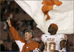 Four years ago, Texas coach Mack Brown led his Longhorns  and quarterback Vince Young  to a national title with a Rose Bowl victory over Southern California.