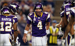 Brett Favre led the Vikings to a 12-4 record and a playoff bye in his first season in Minnesota.
