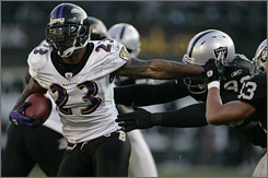 Willis McGahee and the Ravens earned a playoff spot with a win against Oakland on Sunday