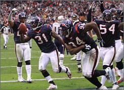 The Texans achieved their first winning season in franchise history with a victory against New England on Sunday.