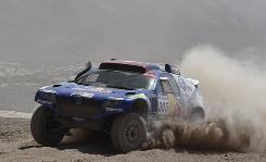 Volkswagen's Mark Miller and co-driver Ralph Pitchford races in stage five of the Argentina-Chile Dakar Rally 2010.