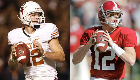 Texas' Colt McCoy and Alabama's Greg McElroy will battle for the BCS national championship on Thursday night in Pasadena, Calif. The quarterbacks both played high school football in Texas.